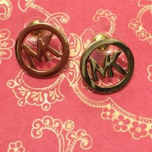 MK cutout logo gold earrings
